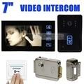 DIYSECUR 7 Pulgadas Táctil Monitor de Video de La Puerta de Intercomunicación Teléfono Timbre Seguridad Para El Hogar Cámara de INFRARROJOS Keyfobs RFID Cerradura Electrónica