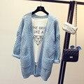 2017 Nueva Moda Otoño Primavera Mujeres Cardigans Suéter Caliente Ocasional del Diseño Largo Femenino Chaqueta de Punto Chaqueta de Punto de Señora