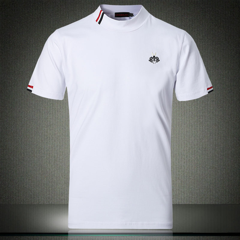 Autumn White T Shirt 5XL 2019 New Fashionable Designer Men T-shirts 4XL Half Turtleneck Short Sleeve Stylish Clothes #504