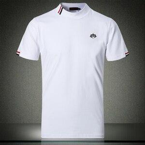 Image 1 - Outono branco t camisa 5xl 2019 nova moda designer masculino camisetas 4xl meia gola alta manga curta roupas elegantes #504