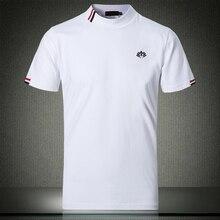 秋白 Tシャツ 5XL 2019 新ファッショナブルなデザイナーメンズ Tシャツ 4XL ハーフタートルネック半袖スタイリッシュな服 #504