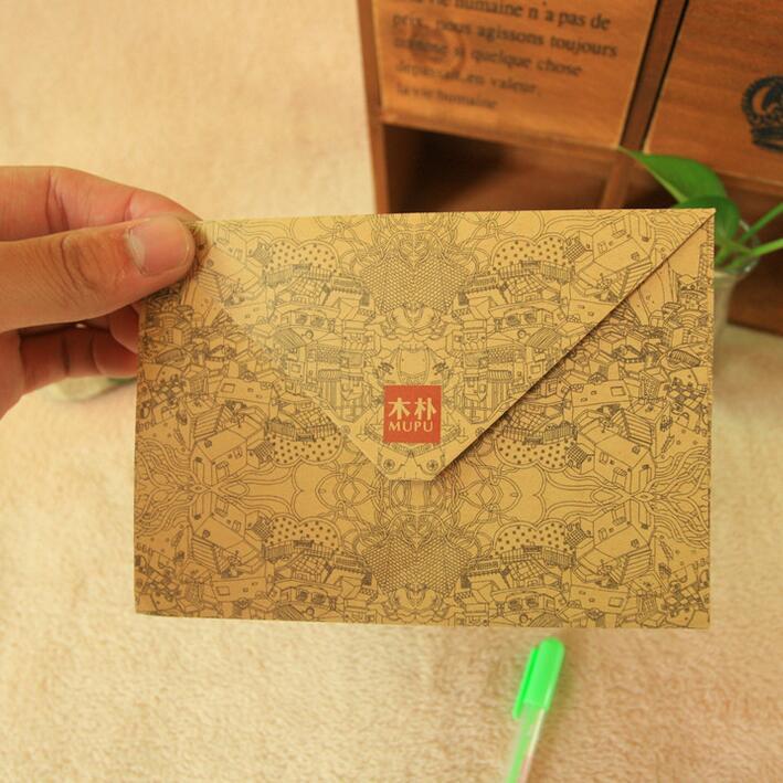 5pcs/lot New Vintage Print Pattern Kraft Paper DIY Envelope Set Fancy Envelopes Kawaii Gift Stationary Wholesale