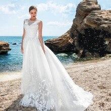 High Quality Tulle Summer Beach Wedding Dresses Scoop Neck 2016 Applique Zip Back with Court Train Bridal Gown vestido de noiva