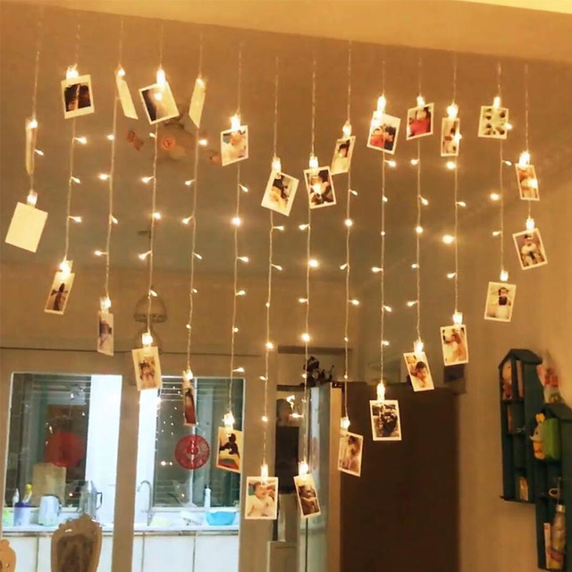 Eu Plug Led String Lights Photo Clips 2m For Holiday Wedding Party Room Decoration