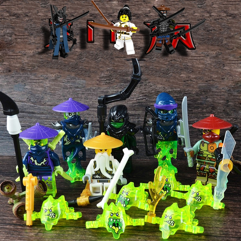 Toys Blocks Movie Figures Nya Lloyd Kai Cole Golden Misako Dragon Master Wu Spinjitzu Lord Garmadon Muzzle Block Toy Kids Toys