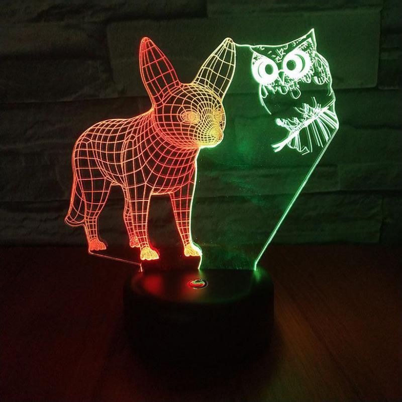 Fox Owl Led 3d Nightlight Creative Visual Touch Charging 3d Lamp Children's Room Decoration 3D Night Light