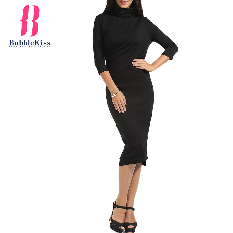 c039d7f8f1b0 Turtleneck Plain Bodycon Dress Long Sleeve Autumn Winter Vintage Sheath Dresses  Women Work Office Black Midi Pencil Dresses-in Dresses from Women's  Clothing ...