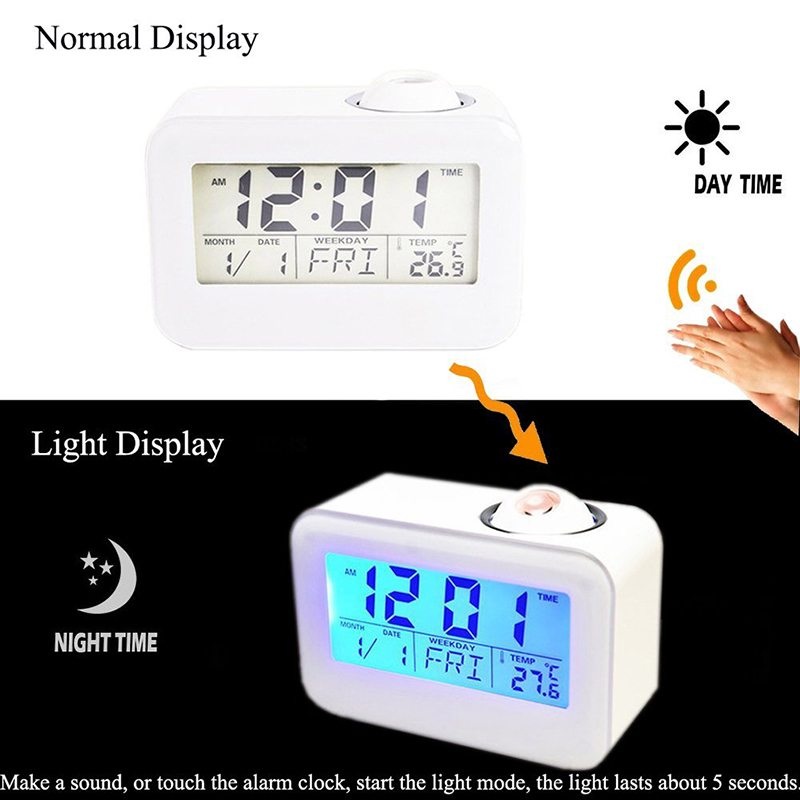 LCD Projection LED Display Time Digital Alarm Clock Talking Voice Prompt Thermom