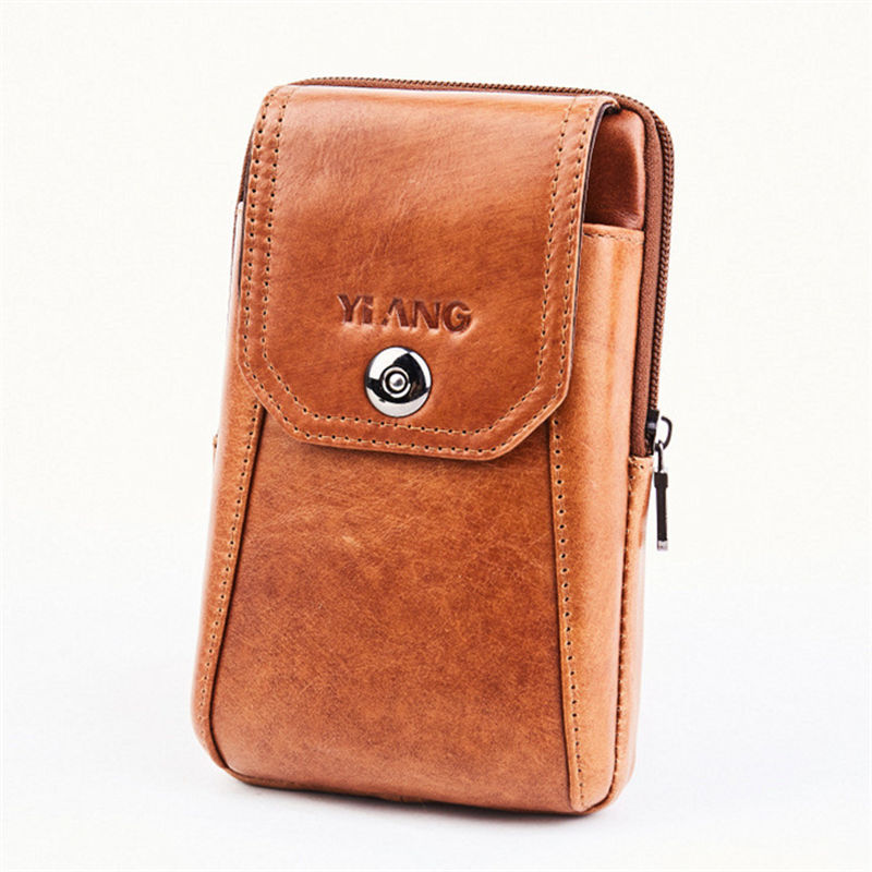 YIANG Men's Genuine Leather Fashion Travel Cigarette Waist Belt Bag Fanny Pack Mini Money Coin Purse Pouch Mobile Phone Bags
