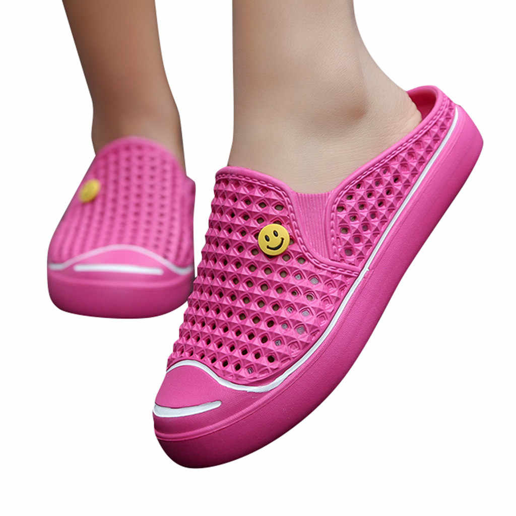 2019 Zomer Slippers Vrouwen Hollow Out Ademend Strand Slippers Unisex Casual Slip-on Flats Sandalen Smiley gezicht Schoenen 36-41