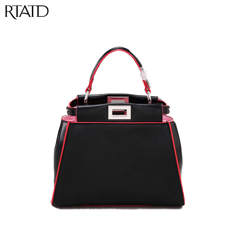 RTATD New Classic Panelled Handbags Trendy Women Split Leather Tote Famous Brand Design Lady Shoulder Bags B231 new genuine leather rivet design women handbag trendy brand design lady tote for women clutches q0180