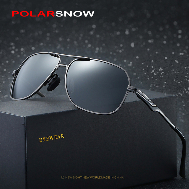 POLARSNOW 2017 Square Sunglasses Metal Frame Men Goggle Polarized Sun Glasses Brand Designer Safe Driving Eyewear Male Oculos