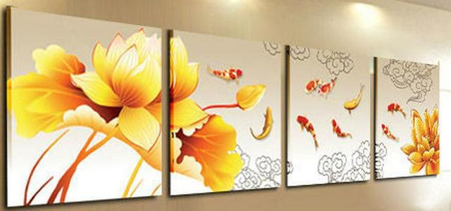 4 Piece Set Modern Abstract Picture Flower Golden Lotus Koi Fish ...