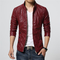 2018 Mens clothing faux leather jacket Slim fit Wine red Khaki black plus size M 6XL Motorcyle coats high quality drop shipping