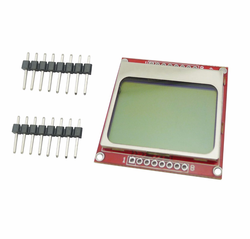 Nokia 5110 lcd module monochrome display screen 84 x 48 for arduino - 10pcs Lot 84x48 5110 Lcd Module With Backlight Red Pcb For Arduino For Nokia