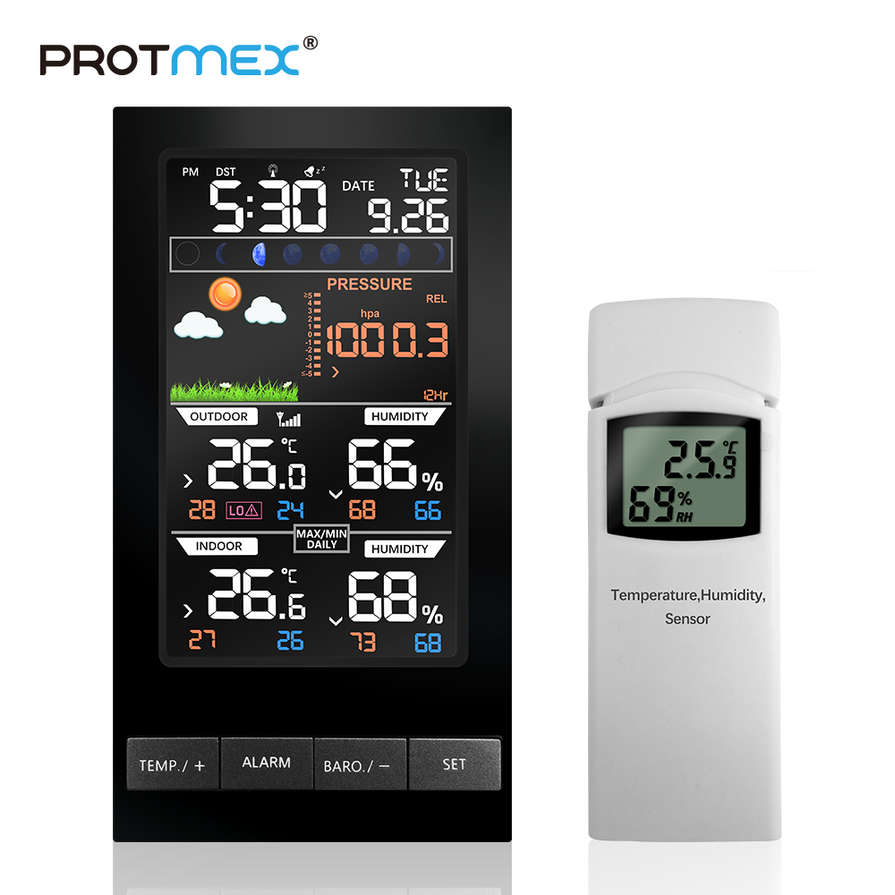 PROTMEX Weather Station Temperature Humidity Wireless Colorful LCD Display With Barometer Weather Forecast RCC Clock in/outdoor