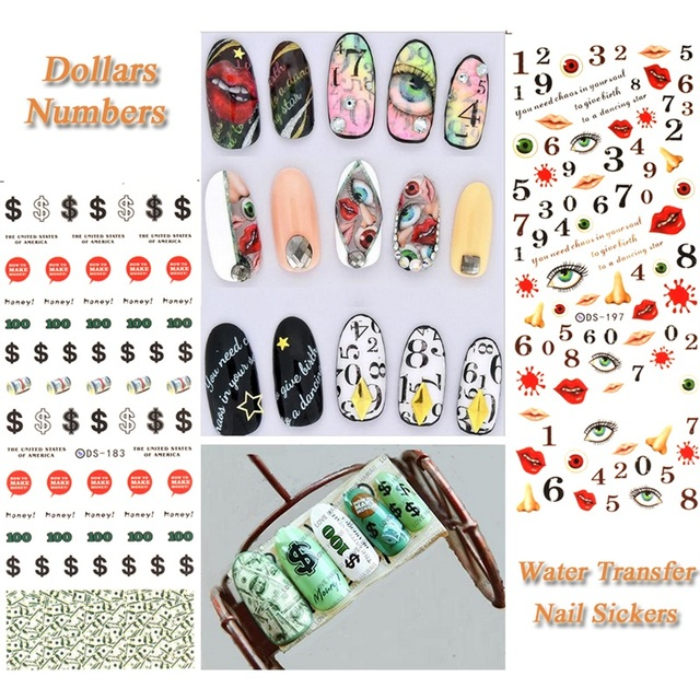 Ds183 Us Dollars Ds197 Numbers Diy Nail Water Transfer Nails Art