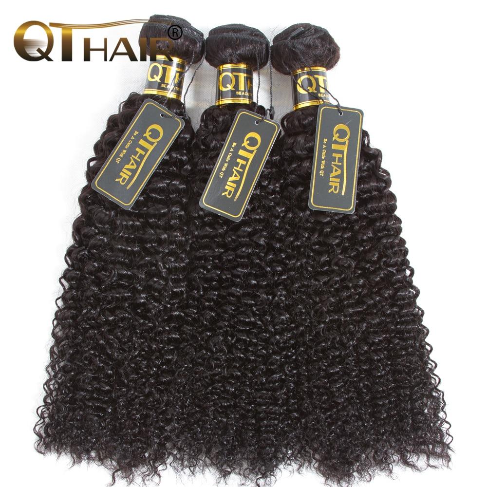 QT Hair Mongolian Human Hair Bundles Curly Weave Hair Bundles 3pc/lot Black Color Non-Remy Hair Weave 10-28 inch