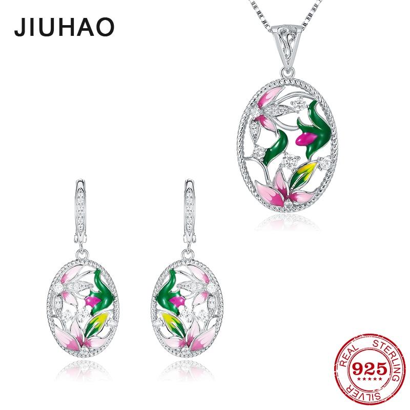 Ensemble de bijoux lotus rose et vert pour les femmes authentique 925 argent Sterling charmes mode pendentif boucles d'oreilles fête émail
