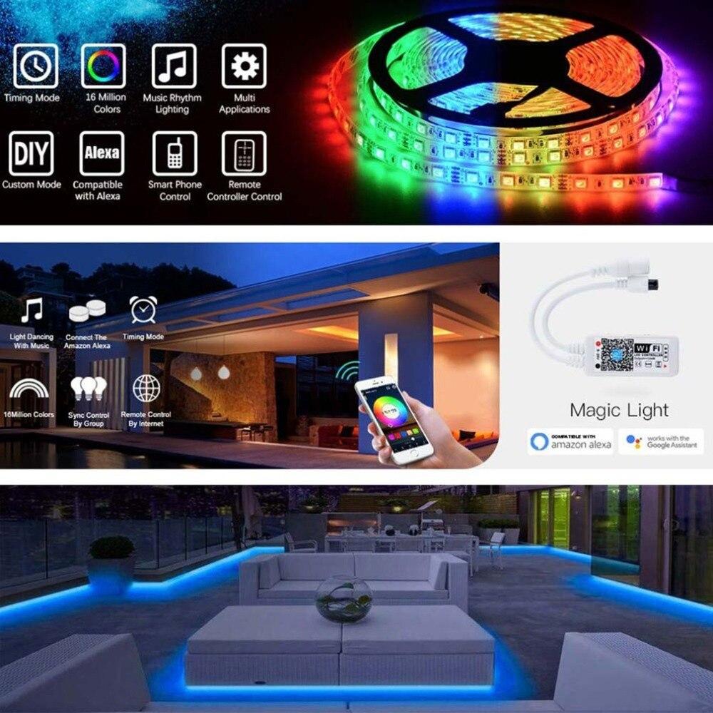 5 Meter Super Lange Led Streifen Lichter Wi-fi Wireless-smartphone App Gesteuert Für Android Für Ios System Reinweiß Und LichtdurchläSsig