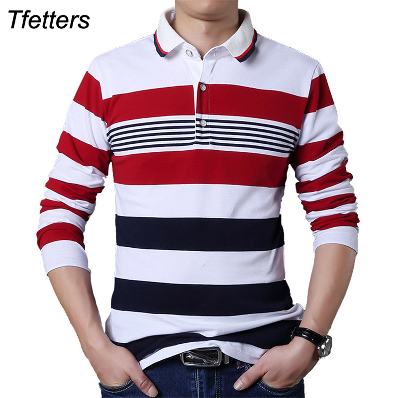 TFETTERS Autumn Casual Men T-shirt White And Red Stripe Pattern Fitness Long Sleeve Turn-down Collar Cotton Tops Stripe Clothes