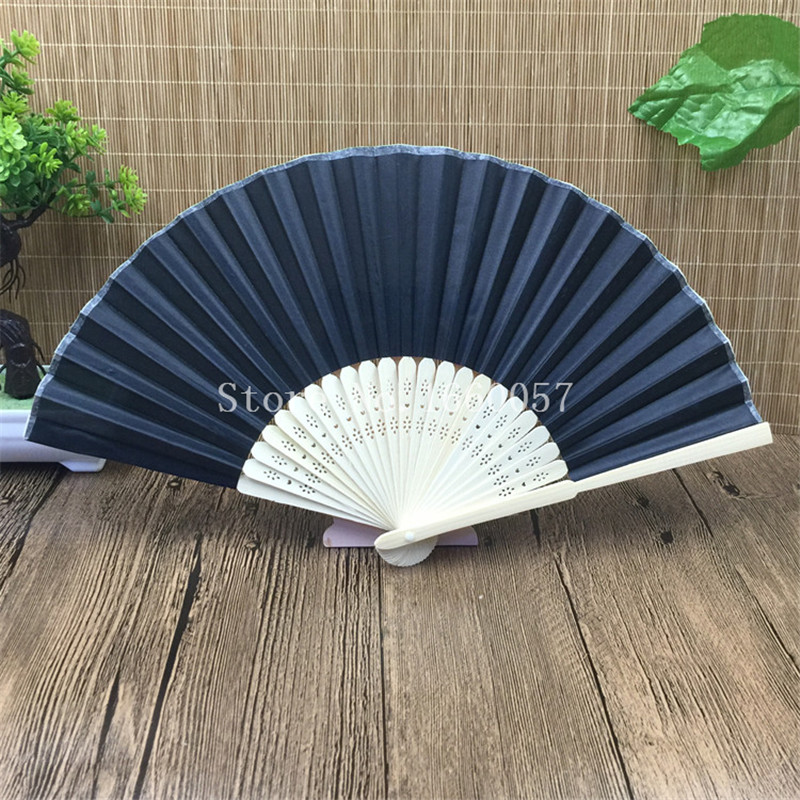 100pcs Black Personalized Wedding Favors and Gifts Silk Fan Cloth Wedding Decoration Hand Folding Fans +Customized Printing