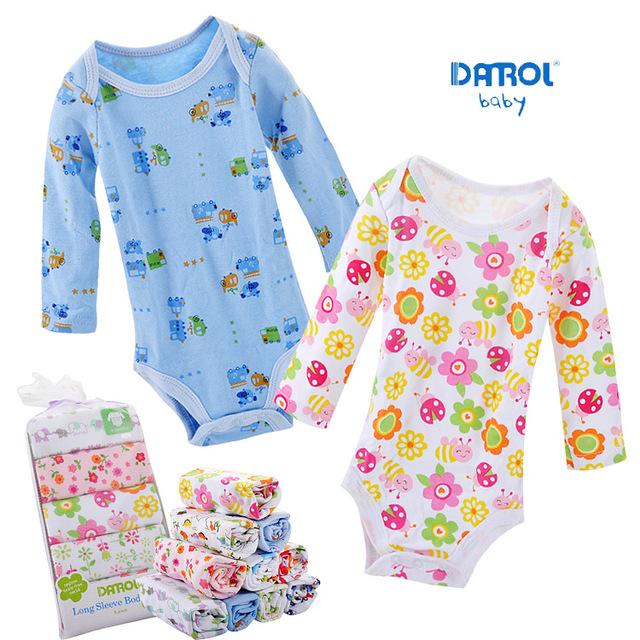5 peças do bebê danrol bodysuits do bebê das meninas dos meninos de manga comprida triângulo newborn clothing bodysuits algodão 3-24 m v20