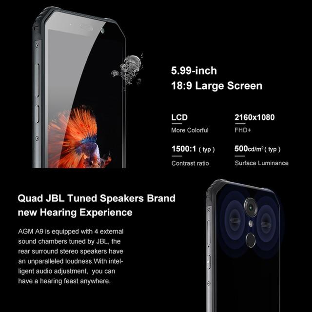 "Original AGM A9 Android 8.1 189 5.99""HD IP68 Waterproof 4GB+64GB Qualcomm Octa-core 5400mAh Fingerprint OTG NFC Cellphone"
