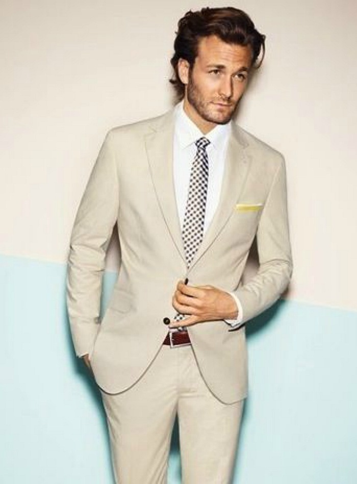 Casual Beige Man Suit Fashion Groom Tuxedos Slim Fit Mens Wedding ...