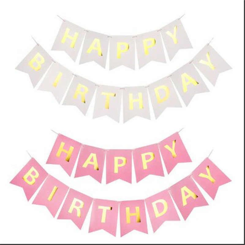 Multi ธีม Happy วันเกิดแบนเนอร์ Baby Shower Birthday Party ตกแต่ง Photo Booth Happy Birthday Bunting Garland Flags