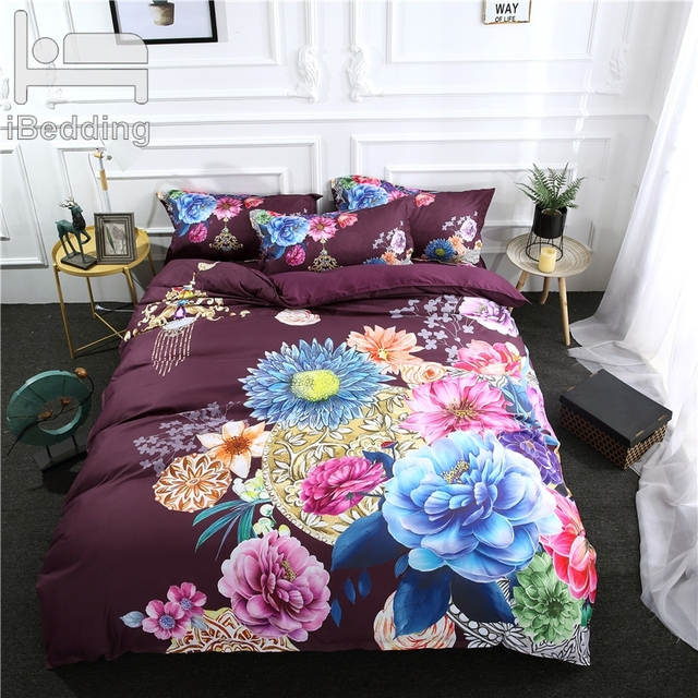 Luxury Flowers Printed Duvet Cover Set 3Pcs/Set 3D Beddings Bed Sets Queen King Twin Size