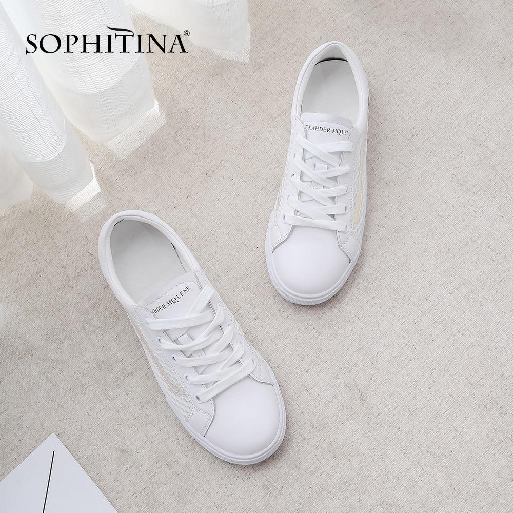 Respirabilité Femme Nouveau Et Chaussures Blanc Appartements Maille Base Sophitina Laser De 2019 Strass Po45 Lacets Décontracté À Mode Arriaval RALq543j