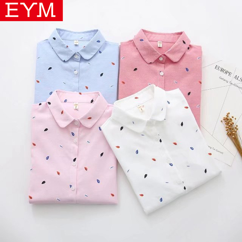 EYM Brand Printed   Shirts   Women 2019 Spring New Women Long Sleeve   Blouse   Good Quality Cotton   Blouses   White Tops Blusa Feminina