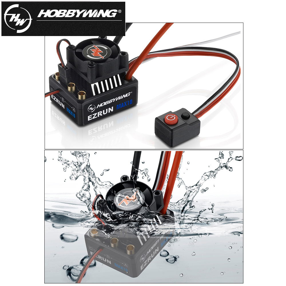 1pcs Original Hobbywing EZRUN MAX10 60A Waterproof ESC With 6V/7.4V BEC 2-3S Lipo Speed Controller Brushless ESC for 1/10 RC Car 30a esc welding plug brushless electric speed control 4v 16v voltage