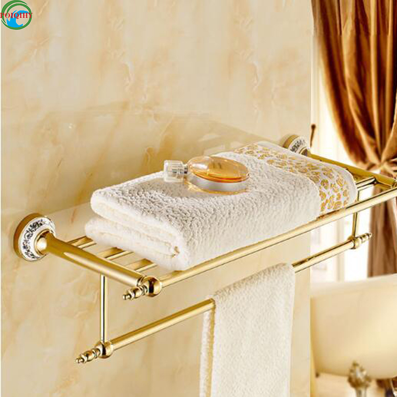 New Arrival golden Finish Bath Towel Shelves Towel Rack Towel Bar Bath Hardware accessories meifuju new arrival towel racks luxury bathroom accessories high quality golden finish bath towel shelf towel bar bath hardware