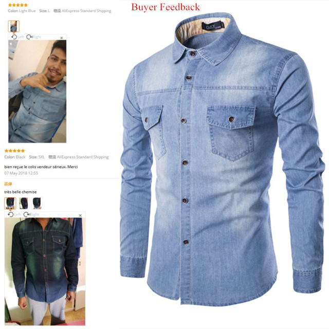 Fashion Mens Denim Shirt Long Sleeve Plus Size Cotton Jeans Cardigan Casual Slim Fit Shirts Men Two-pocket Tops Clothing M-6XL 1