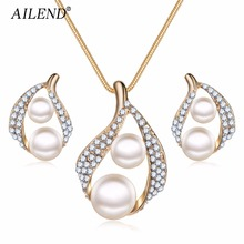 AILEND 2018 Bijoux Luxury Double Simulated Pearl Jewelry Set For Woman Fashion Dubai Crystal Necklace Earrings Wedding Gift