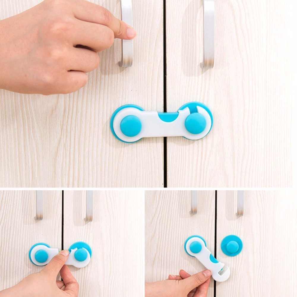 Home Door Drawer Baby Safety Lock Mini ABS Plastic Children Kids Protect Safety Care Wardrobe Cabinet Locker Supplies Blue color