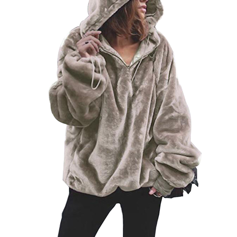 Zipper Casual Long Sleeve Sweater Women Solid Flannel Warm Sweaters Fashion Oversize Hooded Tops Autumn Winter Coat Women