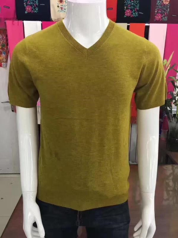 Specials Goat Cashmere Men's Vneck Short Sleeve Spring Autumn Thin Sweater Pullover Solid Color 170/84A-185/96A