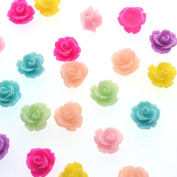 60pcs Bulk Wholesale Resin Flower Mixed Color Rose Beads, Flower Beads, Drilled Flowers, 10mm Flower Beads, 1mm Hole SH-419