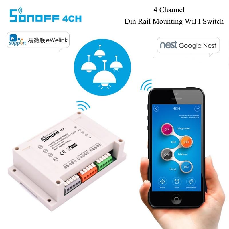 imágenes para Sonoff 4CH-4 Canal de Montaje En Carril Din Interruptor Temporizador WiFi 90 ~ 250 V Para El Aparato Electrodoméstico Inteligente IOS Android Remoto Activar o OFF