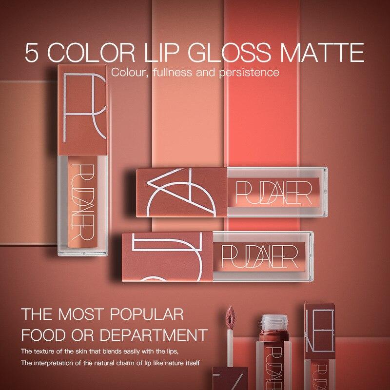 5 Pcs/Kit Matte Lip Gloss Matte Liquid Lipstick Lipgloss Set Red Velvet Sexy Color Lip Tint Stain Nude Kit Batom Nyxed Makeup 1