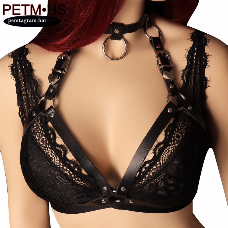Buy GOTH LEATHER BODY HARNESS Women Sexy Tops Harness Bra Body Cage BDSM Bondage Lingerie PUNK Full Dance Music Festival Wear