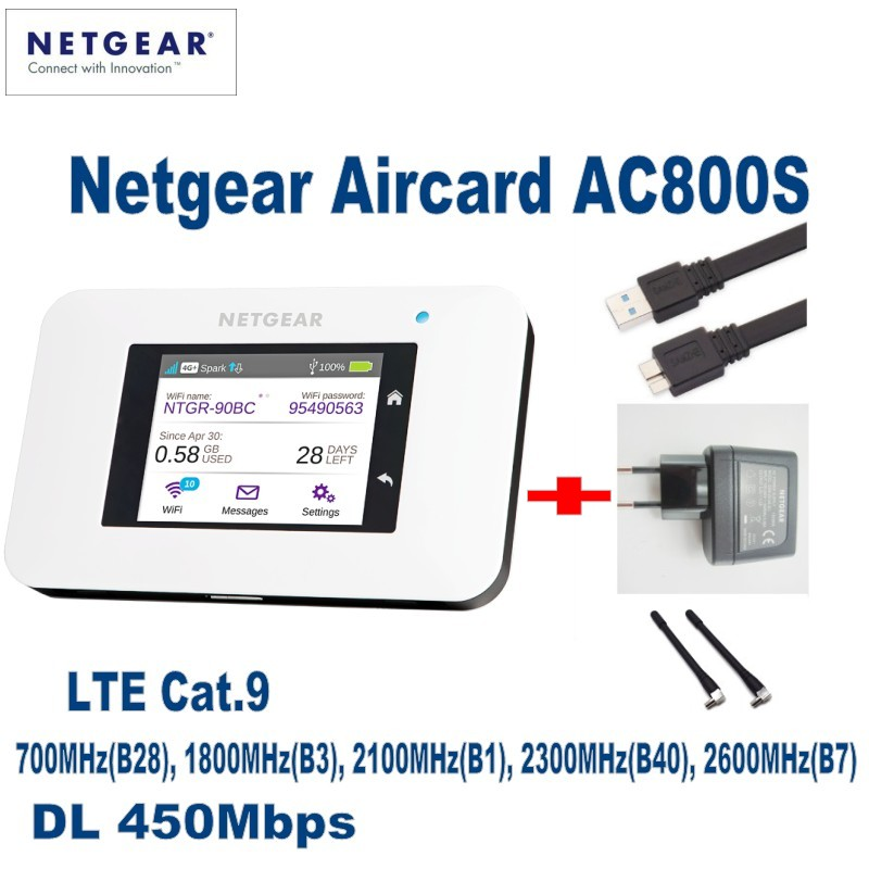 UNLOCKED Netgear Aircard AC800S 4g LTE 450 mbps Mobile Hotspot WiFi Routeur