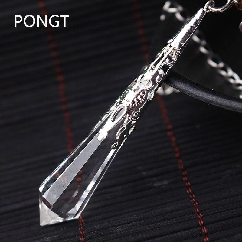 Nuovo cristallo bianco naturale pendoli per rabdomanzia reiki Chakra healing cristalli charms collana pendente in filigrana