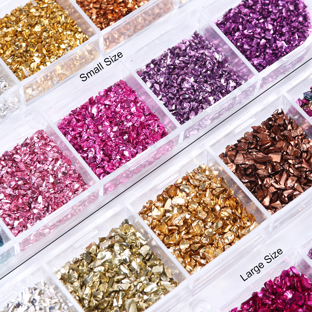 Image 2 - 12 Colors/Set Irregular Metal Rose Gold Nail Sequins Broken Glass Gravel Glitter Stone Accessories Nail Art Decorations CHBLB/S-in Nail Glitter from Beauty & Health