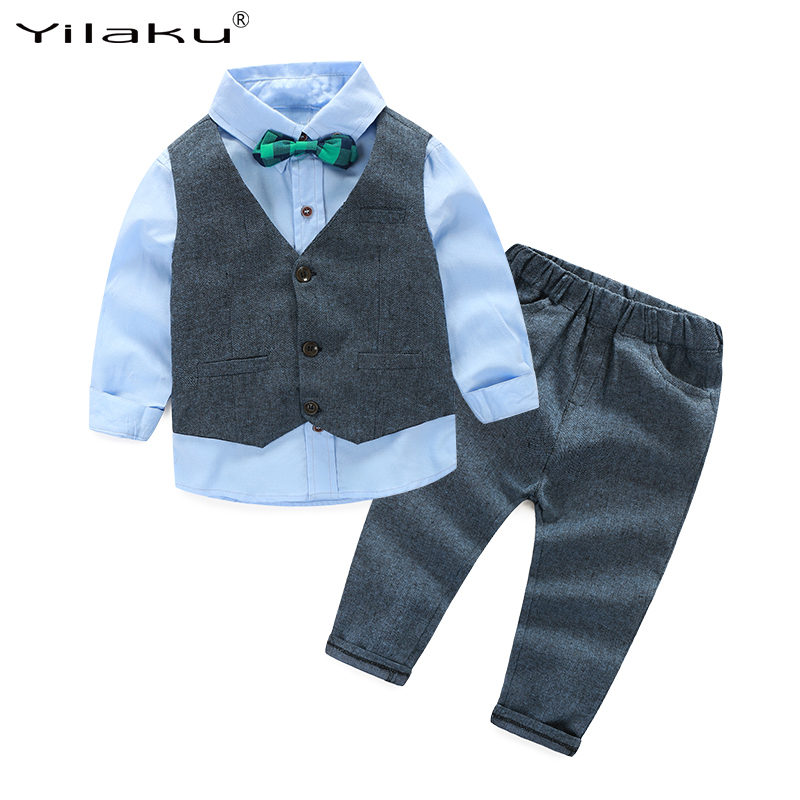 2017 Boys Wedding Clothes Kids Formal Suit Boy Shirt+Vest+Pants Outfits Baby Boy Gentleman Suits Children Clothing Set CF405 boys wedding clothes kids tuxedo suit for baby boy blazer plaid vest shirt pants toddler formal party set children clothing b038