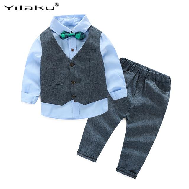 139a9df07e825 Yilaku Boys Clothes Sets Kids Formal Suit Boy Shirt+Vest+Pants Outfits Baby  Boy Gentleman Suits Children Clothing Set CF405