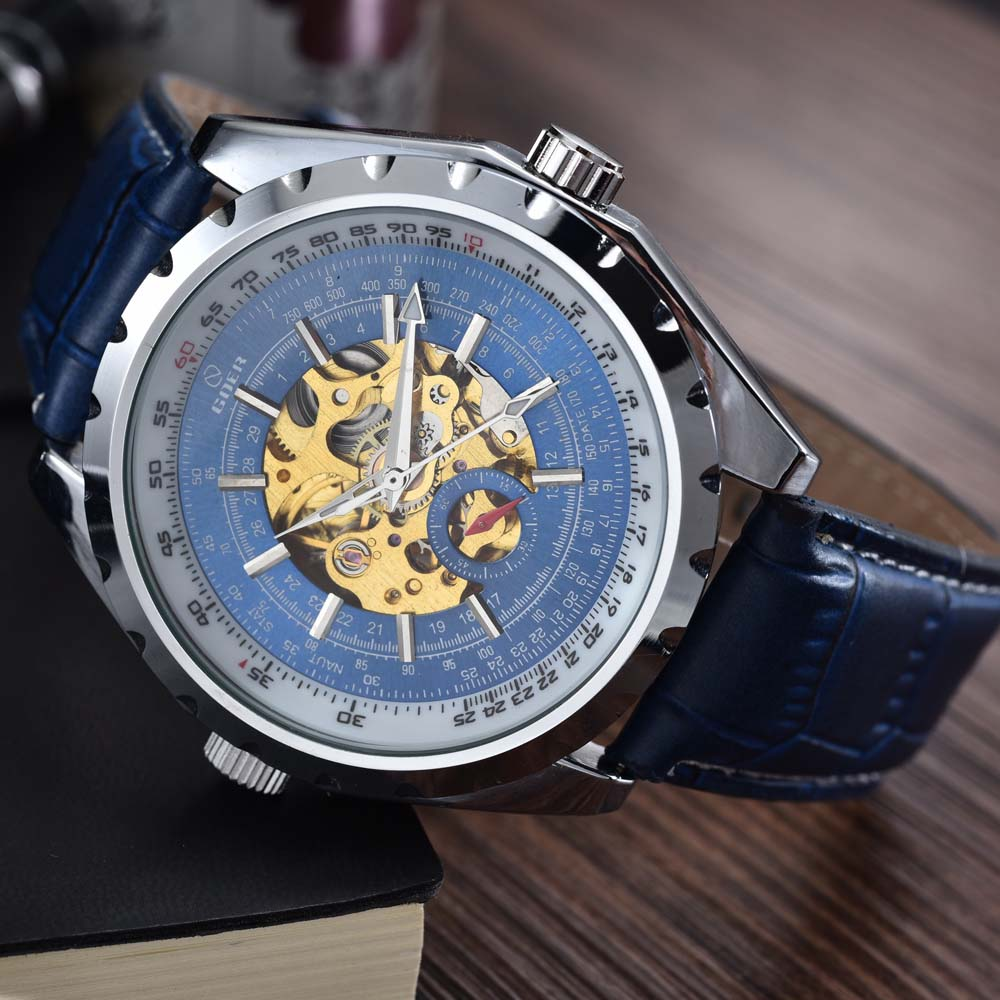 b4d43a28e26 Nova Moda Casual Homens Relógios Azul Mecânico Automático Relógios Homens  Relógios de Pulso De Esqueleto Freqüentador